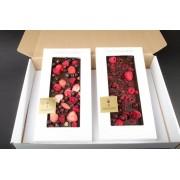 2er Geschenkset dunkle Edel-Schokolade,Erdbeer,Himbeer,Heidelbeer+Himbeer,Brombeer,Sauerkirsch, 200 Gramm