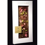 """Dunkle Schokolade """"Ecuador"""" 65,1% mit Rosenblättern, Sauerkirsch,Pistazie, GOLD 22 Karat , 100g"""
