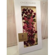 EDELWEIße Schokolade mit kandierten Rosenblättern,Sauerkirschen,Pistazien, GOLD 22 Karat, 100g